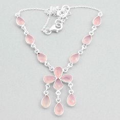 19.97cts natural pink rose quartz 925 silver necklace jewelry t34132