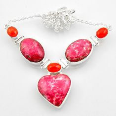 Natural pink thulite (unionite, pink zoisite) cornelian silver necklace r52326