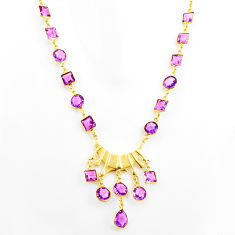 51.13cts natural purple amethyst 925 sterling silver 14k gold necklace r27595