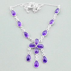 22.05cts natural purple amethyst 925 silver necklace jewelry t34121