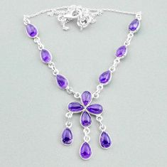 21.48cts natural purple amethyst 925 silver necklace jewelry t34122