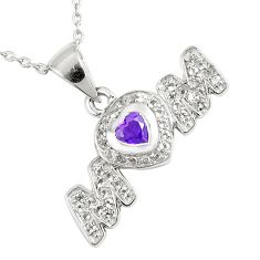 3.32cts natural purple amethyst topaz 925 sterling silver heart necklace c20504