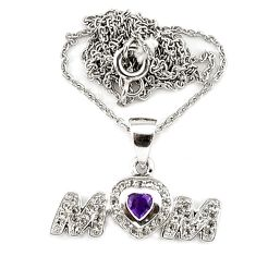 Natural purple amethyst topaz sterling silver mom heart pendant necklace c20509