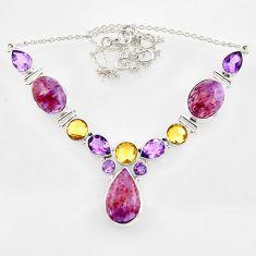 61.59cts natural purple cacoxenite super seven 925 silver necklace r44745