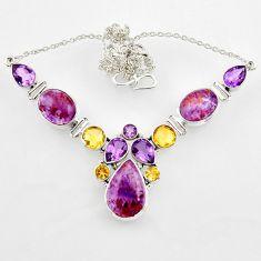 60.27cts natural purple cacoxenite super seven 925 silver necklace r44749