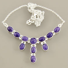 24.24cts natural purple charoite (siberian) 925 sterling silver necklace r47603
