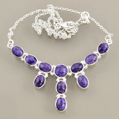 24.62cts natural purple charoite (siberian) 925 sterling silver necklace r47609