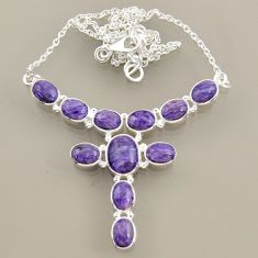 26.80cts natural purple charoite (siberian) 925 sterling silver necklace r47611