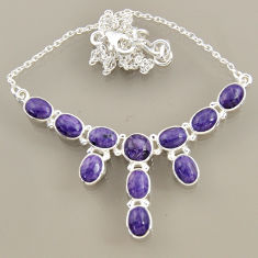 24.24cts natural purple charoite (siberian) 925 sterling silver necklace r47619