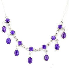 21.69cts natural purple charoite (siberian) 925 sterling silver necklace r56141