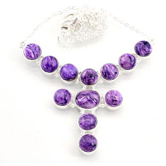 37.41cts natural purple charoite (siberian) 925 sterling silver necklace r72996