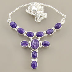 26.44cts natural purple charoite (siberian) oval 925 silver necklace r47616