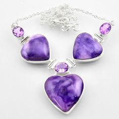 58.75cts natural purple tiffany stone heart amethyst 925 silver necklace r52338