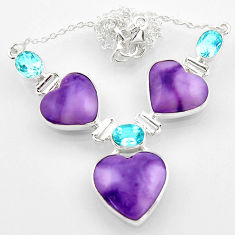 41.49cts natural purple tiffany stone topaz heart 925 silver necklace r52336