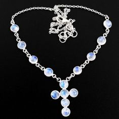 19.84cts natural rainbow moonstone 925 silver cross necklace jewelry r63590