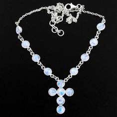 18.41cts natural rainbow moonstone 925 silver cross necklace jewelry r63591