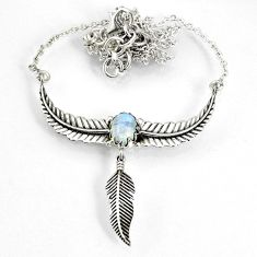 3.31cts natural rainbow moonstone 925 silver dreamcatcher necklace r77785