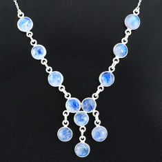 24.73cts natural rainbow moonstone 925 sterling silver necklace jewelry r94073