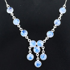 24.73cts natural rainbow moonstone 925 sterling silver necklace jewelry r94074