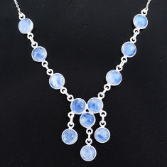 24.73cts natural rainbow moonstone 925 sterling silver necklace jewelry r94075