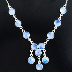 25.65cts natural rainbow moonstone 925 sterling silver necklace jewelry r94076