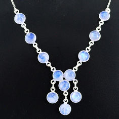25.07cts natural rainbow moonstone 925 sterling silver necklace jewelry r94078