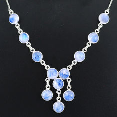 24.20cts natural rainbow moonstone 925 sterling silver necklace jewelry r94079