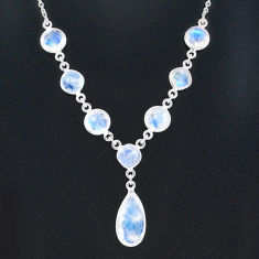 25.07cts natural rainbow moonstone 925 sterling silver necklace jewelry t16140