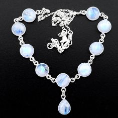 34.89cts natural rainbow moonstone 925 sterling silver necklace jewelry t26384