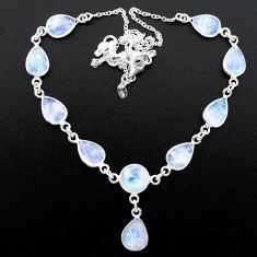 28.15cts natural rainbow moonstone 925 sterling silver necklace jewelry t26386