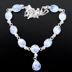 37.88cts natural rainbow moonstone 925 sterling silver necklace jewelry t26388