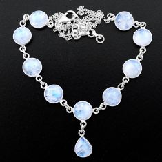 34.24cts natural rainbow moonstone 925 sterling silver necklace jewelry t26389