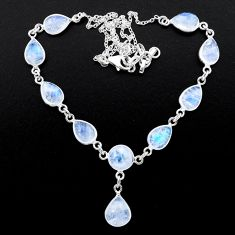 29.85cts natural rainbow moonstone 925 sterling silver necklace jewelry t26392