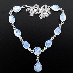 33.10cts natural rainbow moonstone 925 sterling silver necklace jewelry t26397