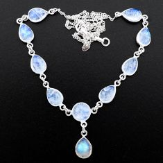 30.76cts natural rainbow moonstone 925 sterling silver necklace jewelry t26398