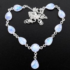 31.02cts natural rainbow moonstone 925 sterling silver necklace jewelry t26400