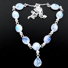 36.77cts natural rainbow moonstone 925 sterling silver necklace jewelry t26402