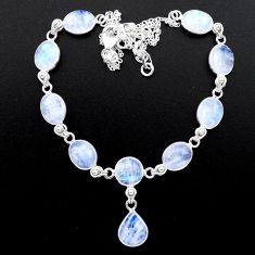 35.80cts natural rainbow moonstone 925 sterling silver necklace jewelry t26403