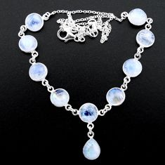 36.46cts natural rainbow moonstone 925 sterling silver necklace jewelry t26405