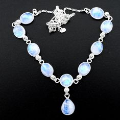 38.14cts natural rainbow moonstone 925 sterling silver necklace jewelry t26406