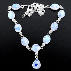 37.50cts natural rainbow moonstone 925 sterling silver necklace jewelry t26407