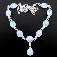 39.10cts natural rainbow moonstone 925 sterling silver necklace jewelry t26412