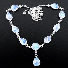 29.57cts natural rainbow moonstone 925 sterling silver necklace jewelry t26413