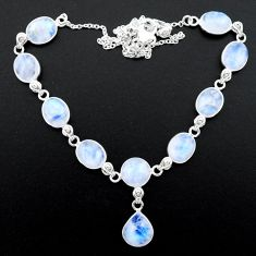 36.96cts natural rainbow moonstone 925 sterling silver necklace jewelry t26415