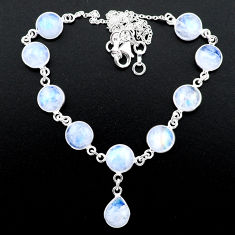33.64cts natural rainbow moonstone 925 sterling silver necklace jewelry t26416