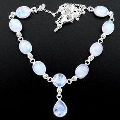 37.85cts natural rainbow moonstone 925 sterling silver necklace jewelry t26419