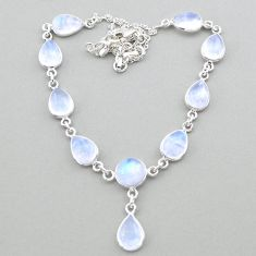 28.65cts natural rainbow moonstone 925 sterling silver necklace jewelry t26438