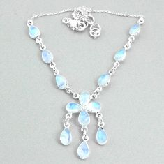 22.02cts natural rainbow moonstone 925 silver necklace jewelry t34119