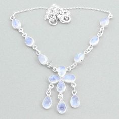 21.48cts natural rainbow moonstone 925 silver necklace jewelry t34137
