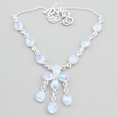 22.05cts natural rainbow moonstone 925 silver necklace jewelry t34139